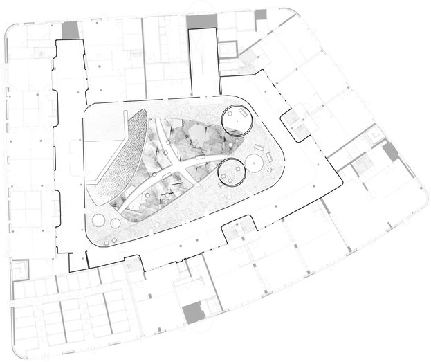 Plan view court yard desing by Andrew van Egmond